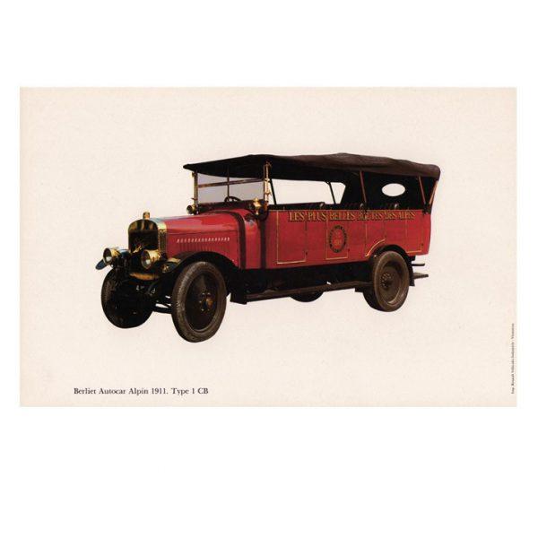 Gravure Berliet autocar alpin type 1 CB de 1911.
