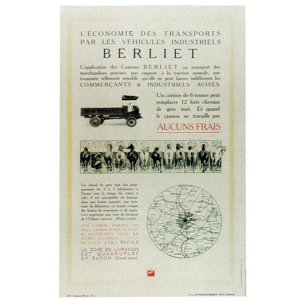 Affiche L'économie des transports par les véhicules industriels Berliet – 1910