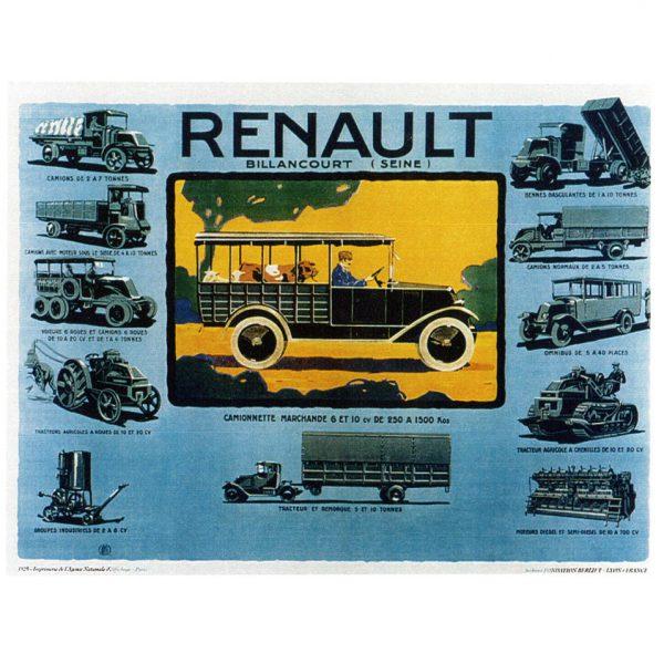 Affiche Renault Billancourt (Seine) gamme des véhicules et produits - 1925