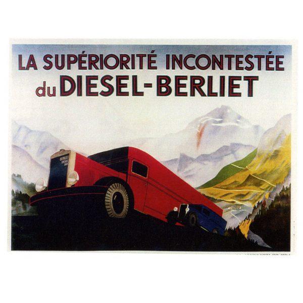 Affiche La supériorité incontestée du Diesel – Berliet - 1934