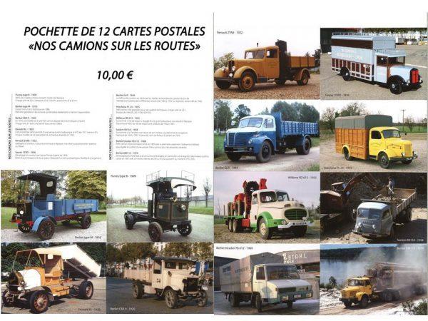 """Pochette de 12 cartes postales """"Nos camions sur les routes"""""""