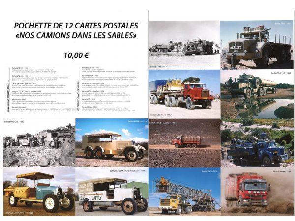 """Pochettes 12 cartes postales """"Nos camions dans les sables"""""""
